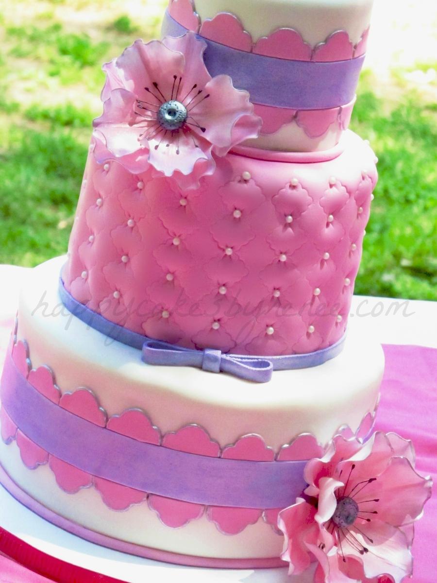 Pink  Purple Anemones Cake  CakeCentralcom