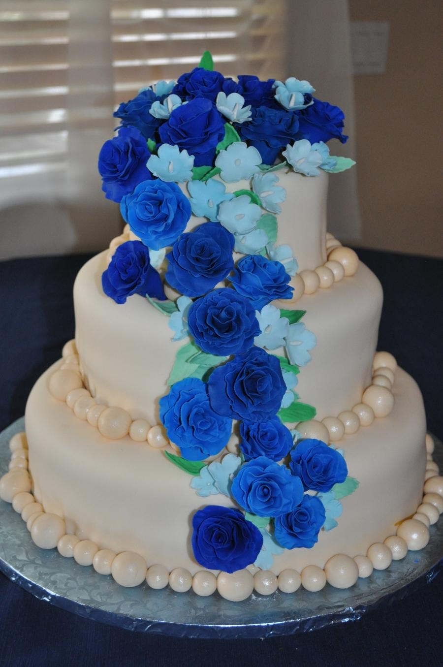 Three Tone Blue Three Tiered Wedding Cake