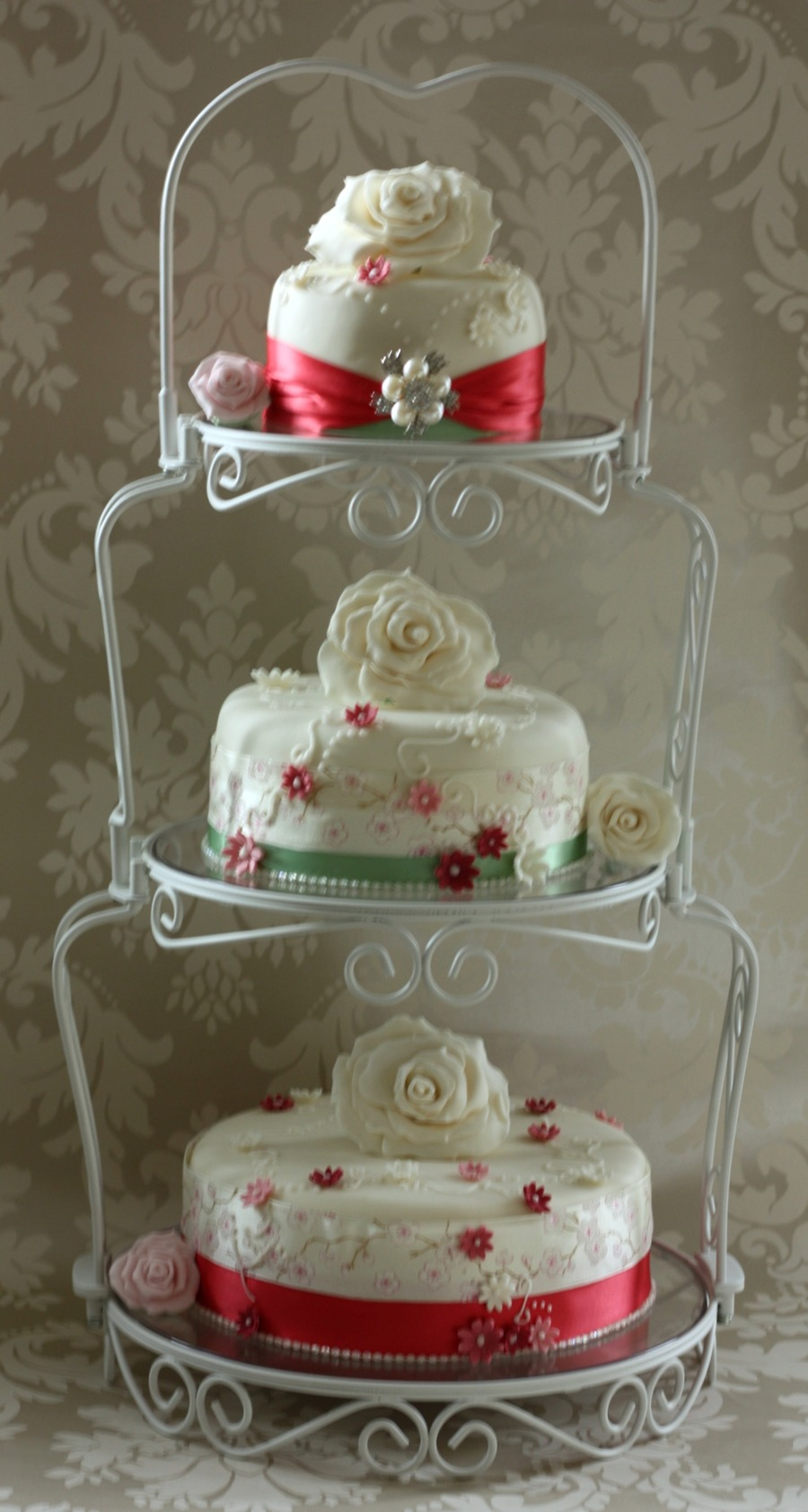 Vintage Style Wedding Cake On Graceful Tiers Stand