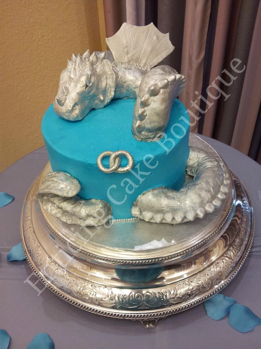 3D Dragon Fondant Buttercream Grooms Cake