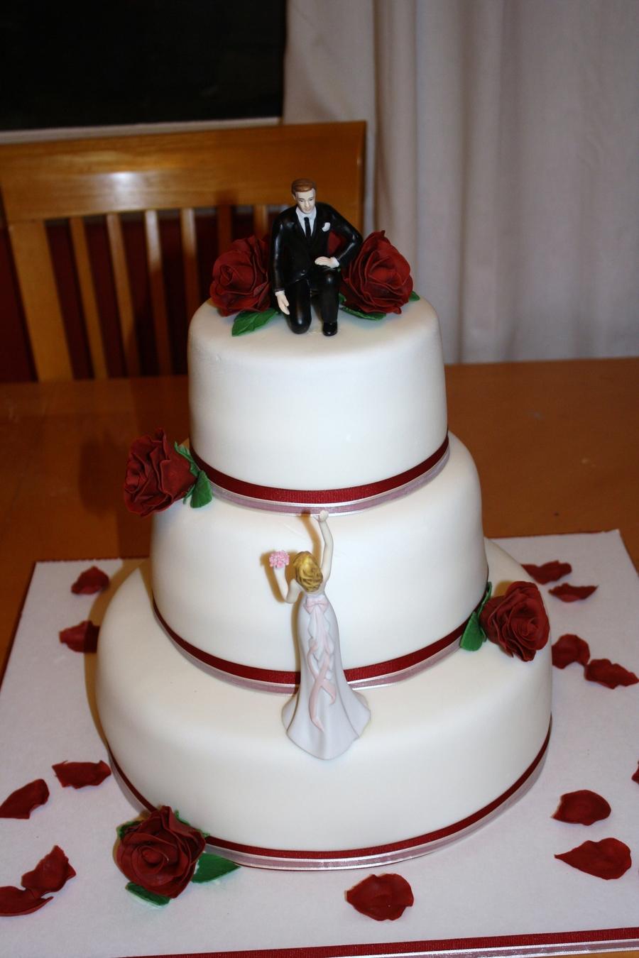Burgundy And White Wedding Cake  CakeCentralcom