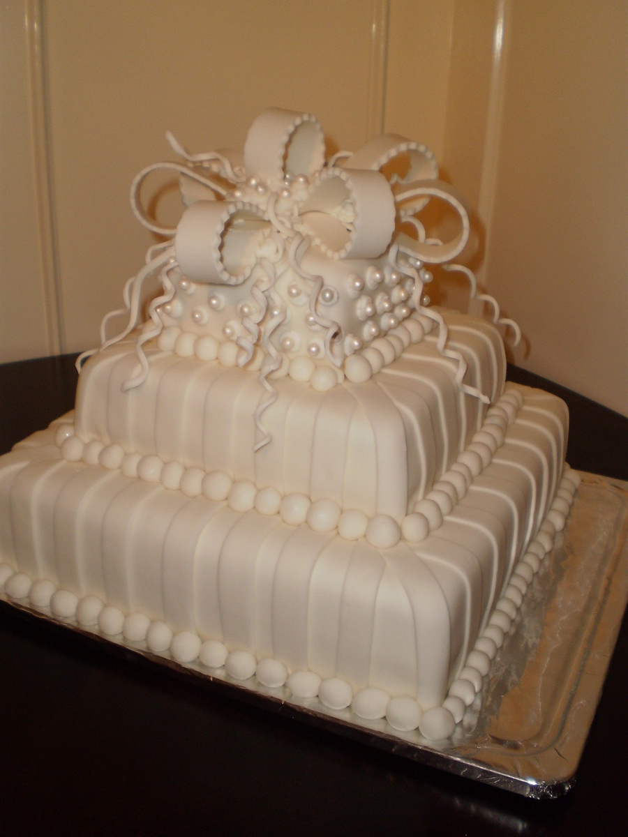 White With Pearls Square 3 Tier Wedding Cake  CakeCentralcom