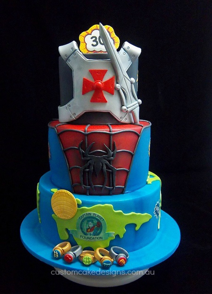 Superhero Cake  Captain Planet Spiderman And HeMan