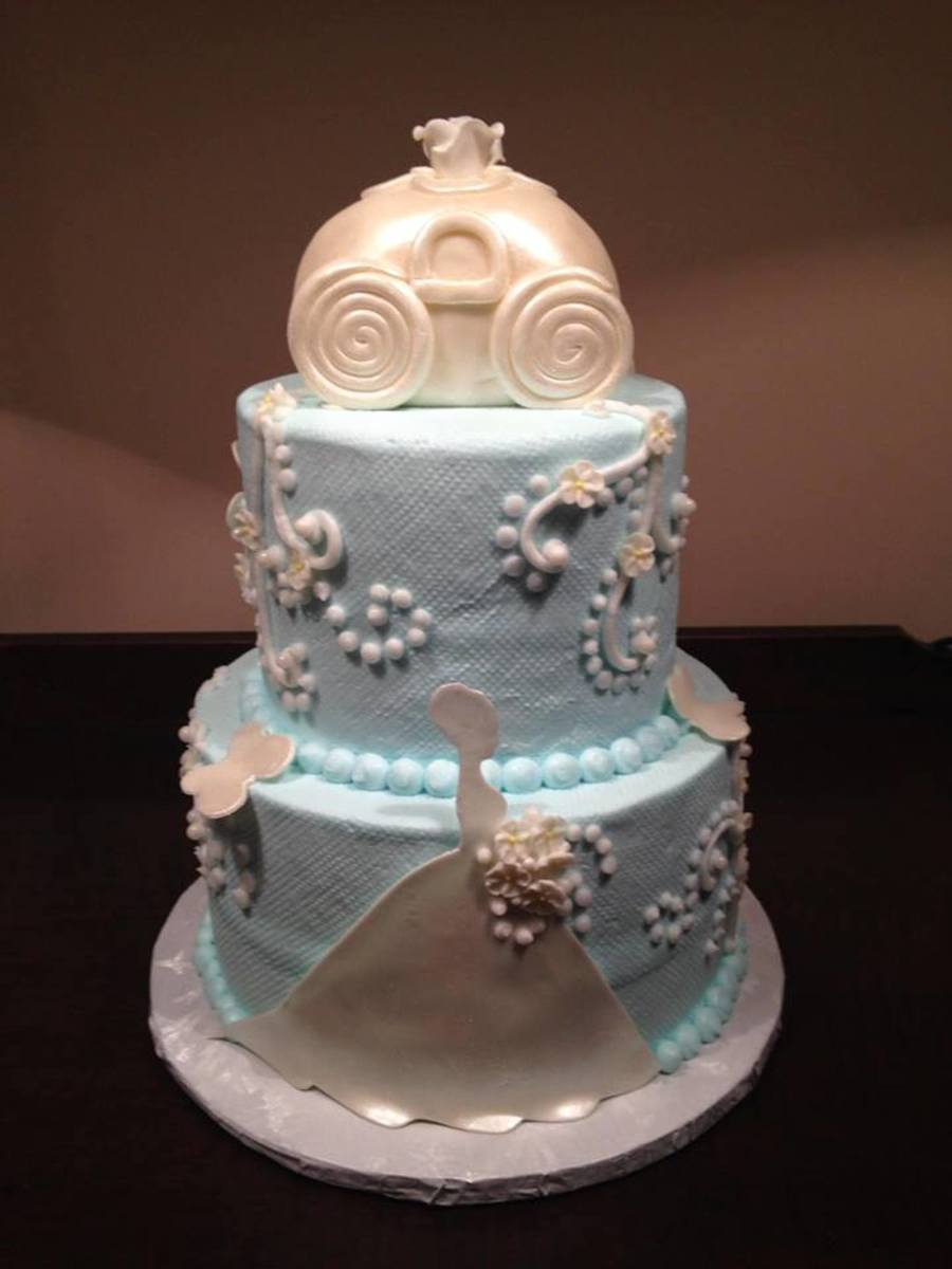 Bridal Shower Cake For A Cinderella Themed Showercake Is Covered In Buttercream Icing With