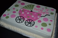 Hot Pink Amp Sage Green Baby Carriage Baby Shower Cake ...