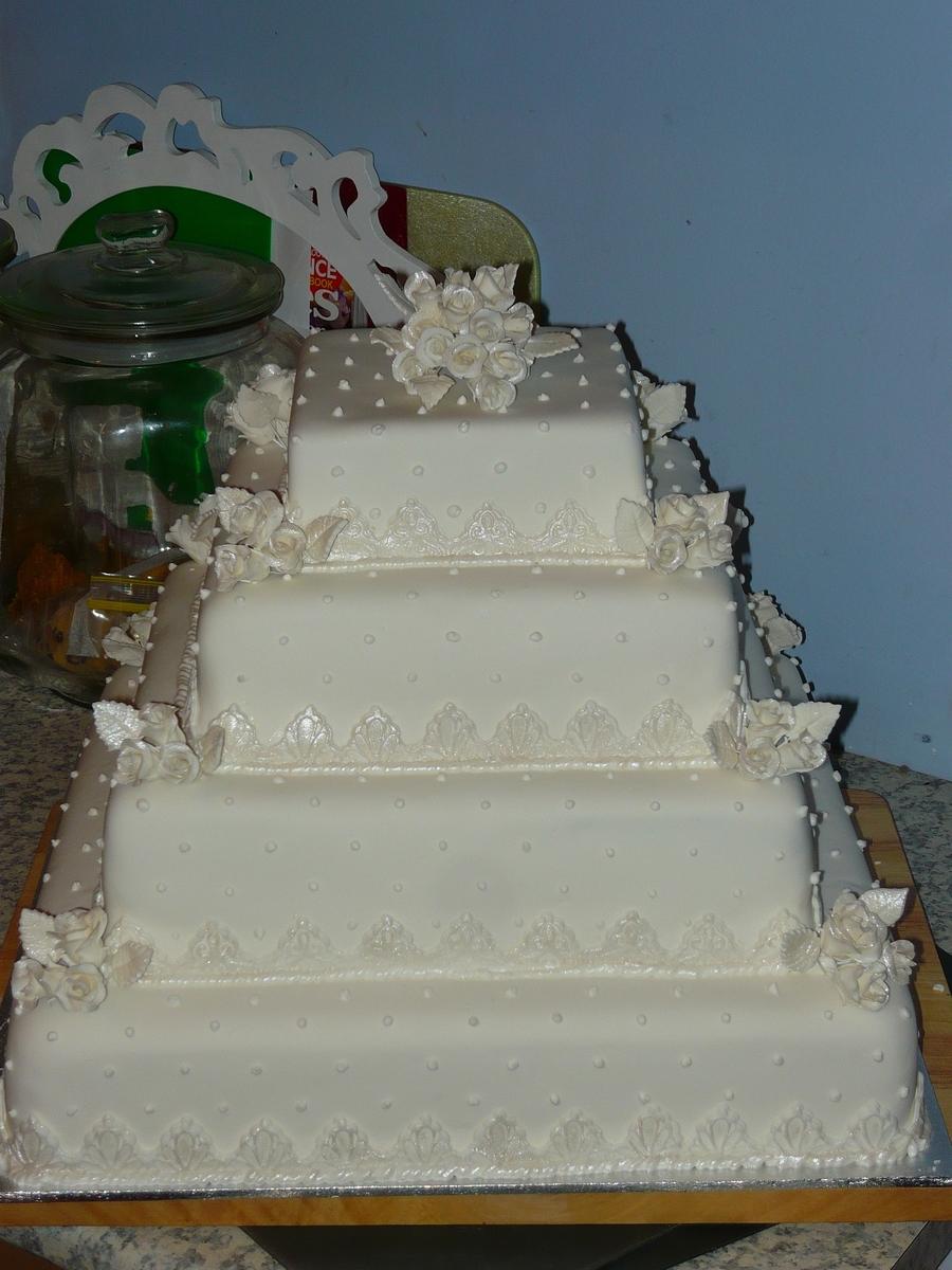 Multi Tiered Square Wedding Cake Art Deco Style