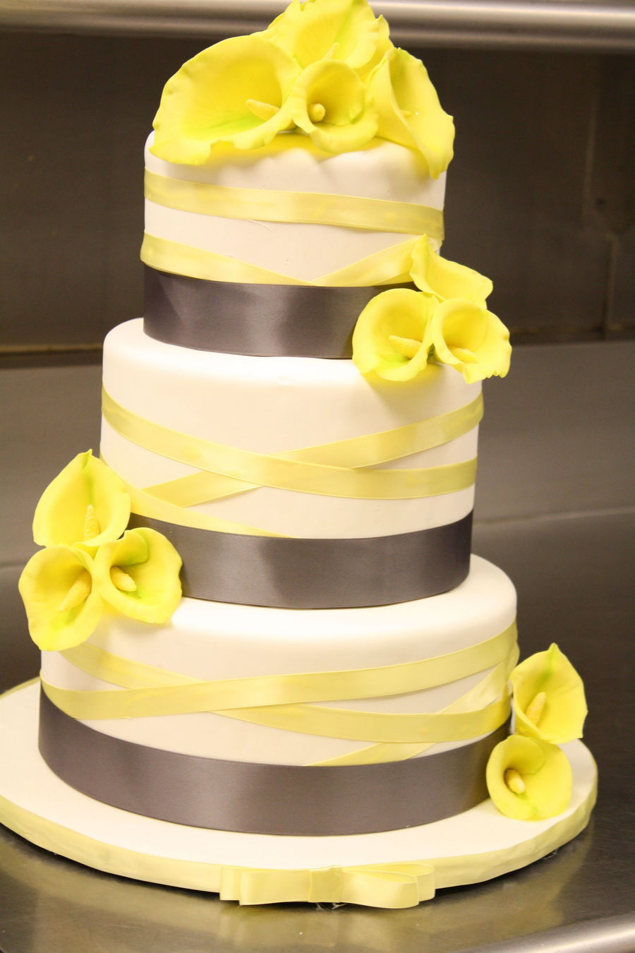 Calla Lily Wedding Cake In Grey And Yellow  CakeCentralcom