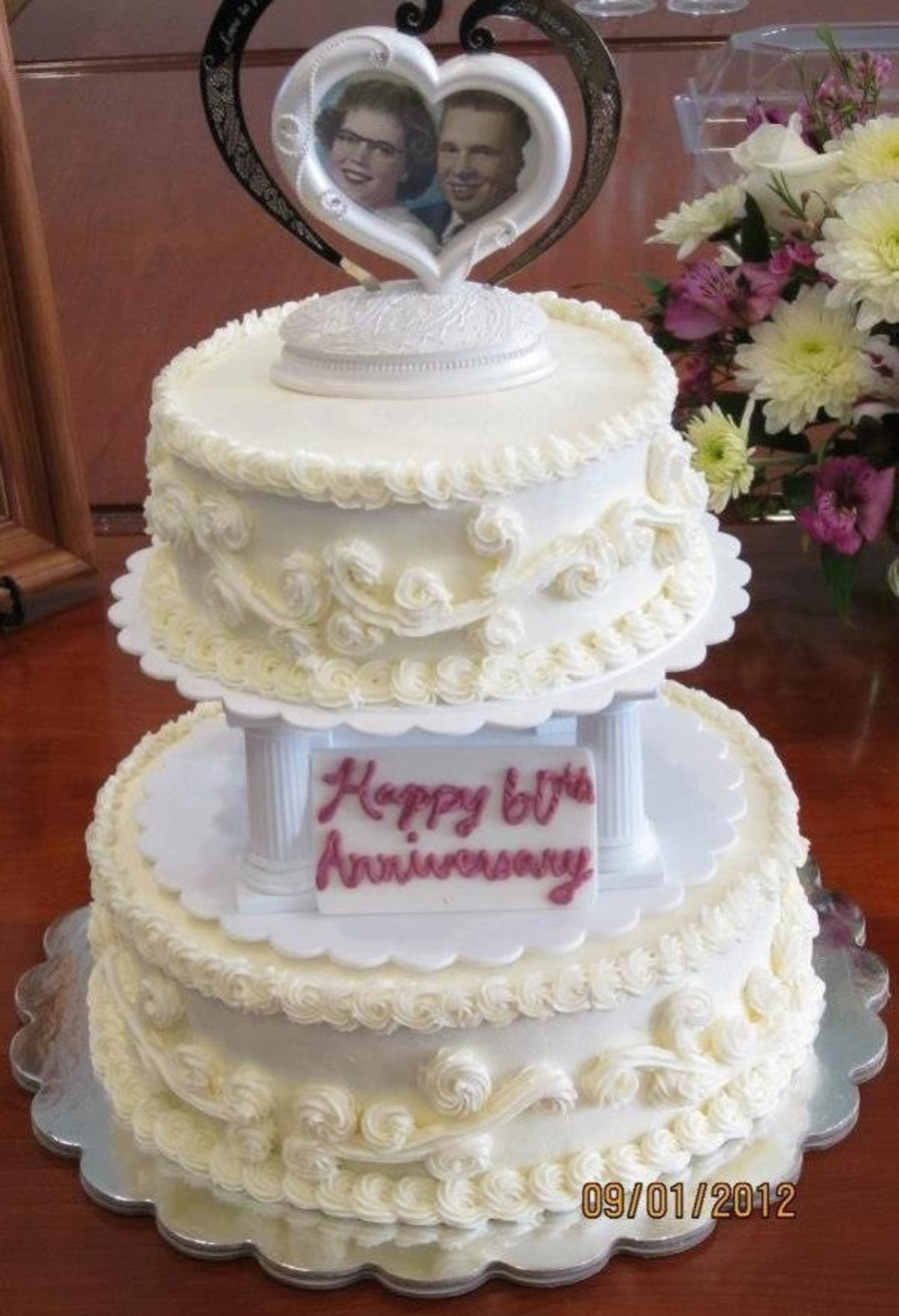 Old Fashioned Buttercream Wedding Cake For A 60Th