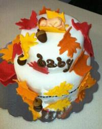 Fall Themed Baby Shower Cake - CakeCentral.com