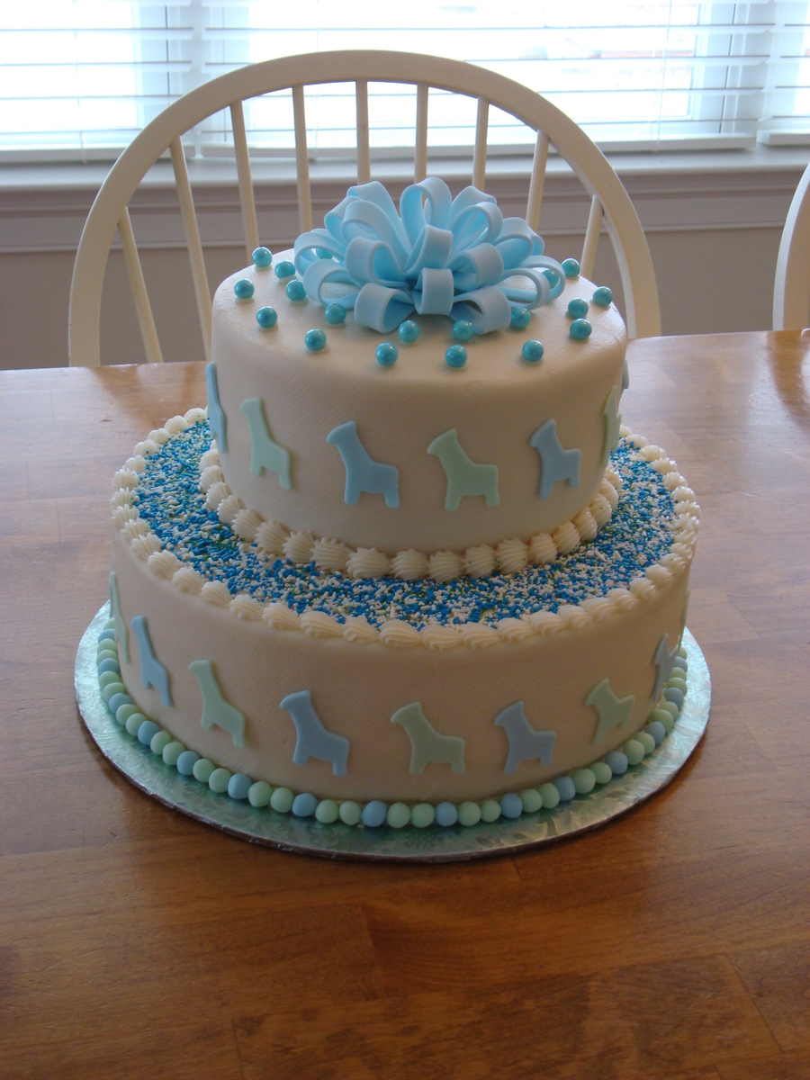 2-Tier Baby Shower Cake - CakeCentral.com