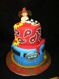 Cowboy Themed Baby Shower Cake - CakeCentral.com
