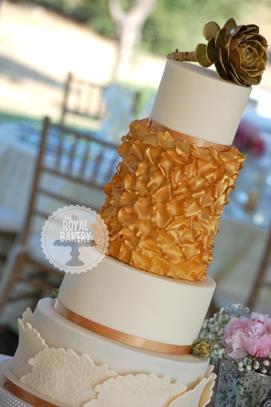 Gold Rose Petal Wedding Cake  CakeCentralcom