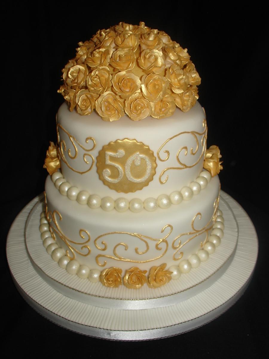 Golden 50Th Wedding Anniversary Fondant Cake