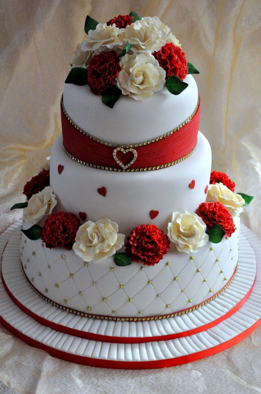 Wedding Cake With Sugar Carnations And Roses