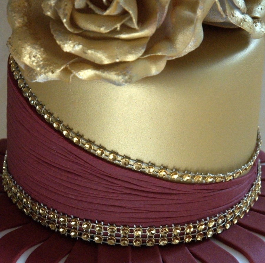 Gold And Burgundy Wedding Cake With Ruffles And Roses  CakeCentralcom