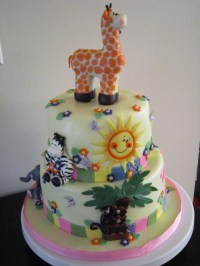 Zoo Animal Baby Shower Cake - CakeCentral.com
