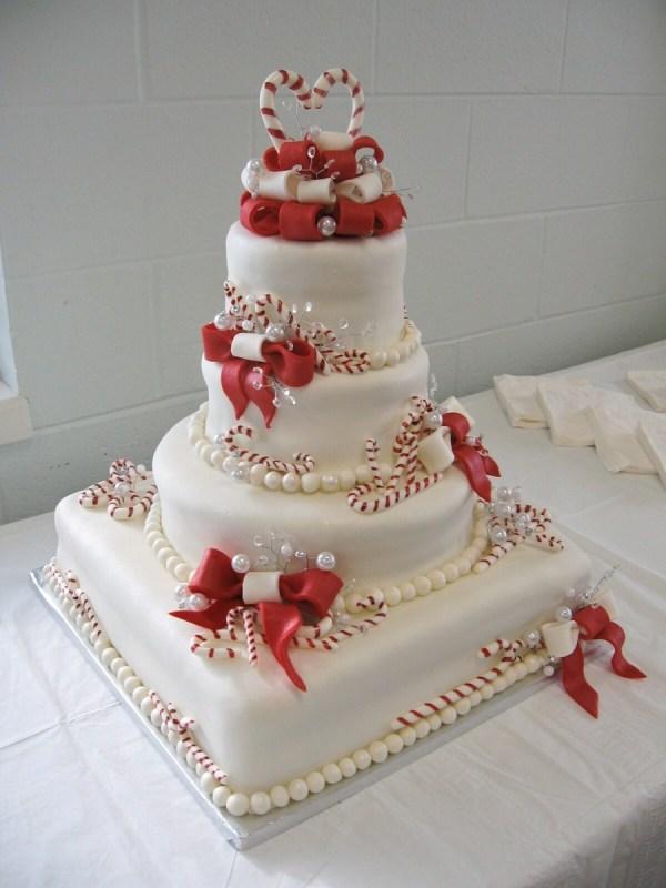 Christmas Candy Cane Wedding Cake