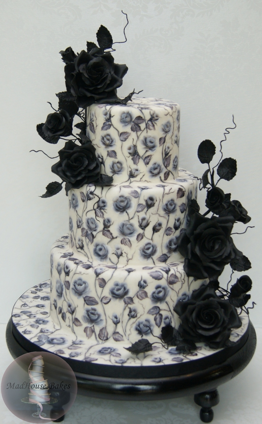 Black Roses A Hand Painted Cake