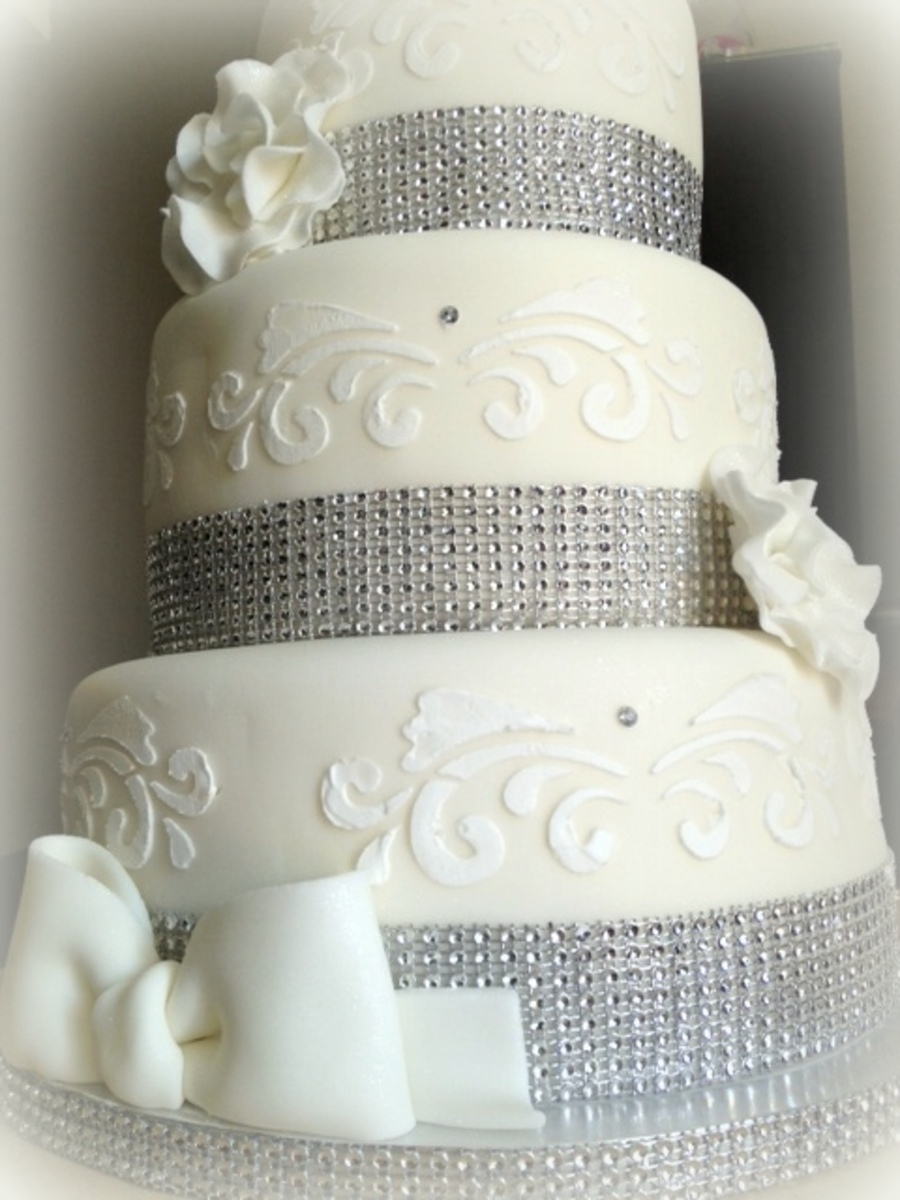 White Amp Silver Christening Cake Cakecentral Com