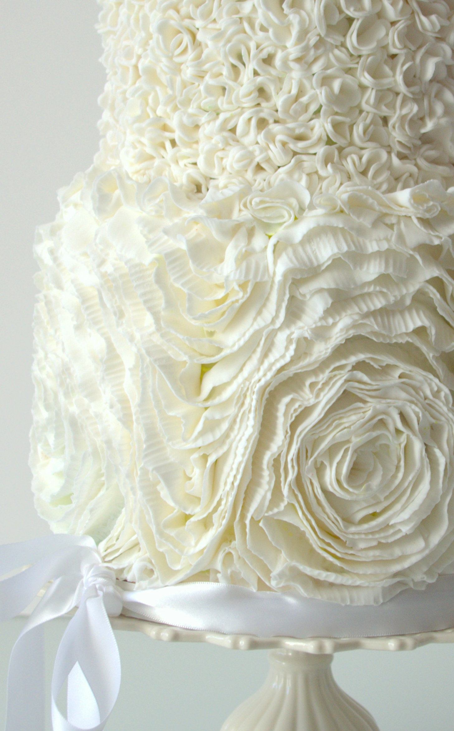 Ruffle Rose And Pompom Wedding Cake