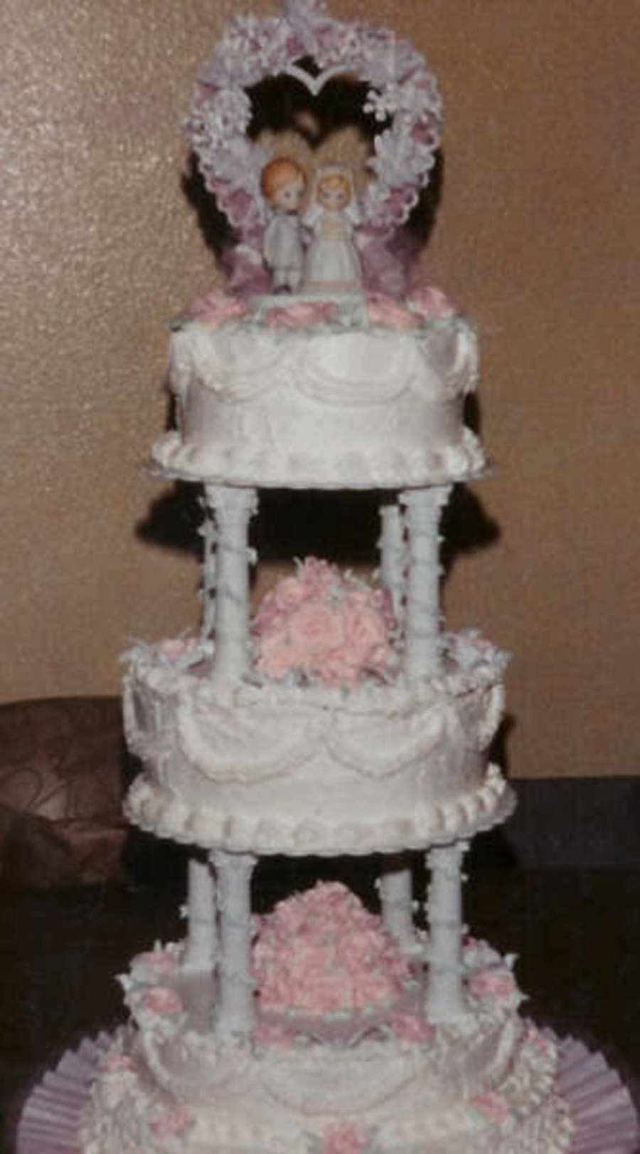 Precious Moments 3 Tier Stacked Wpillars Round White Cake With Handmade Pink Buttercream Roses