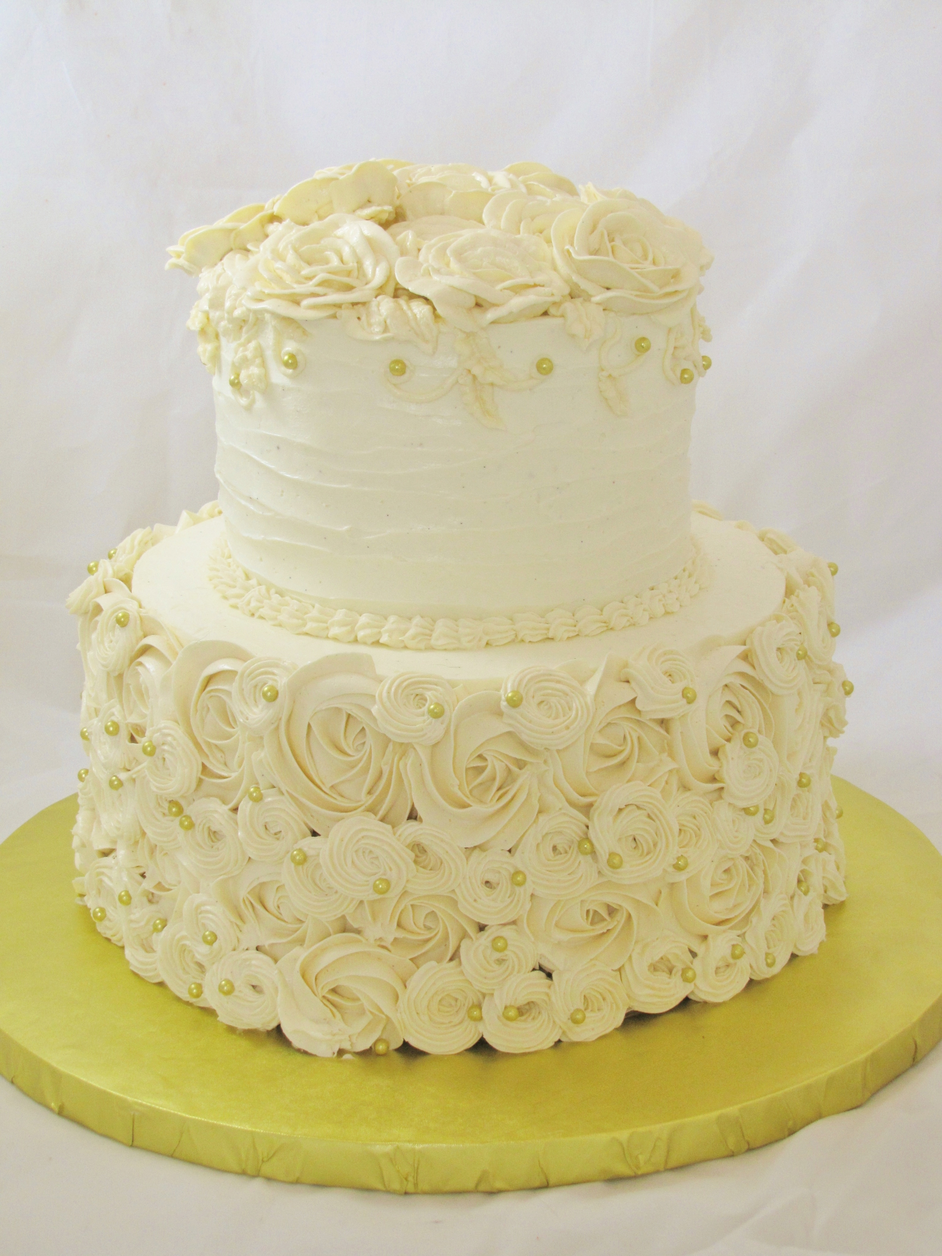 Round Piped Buttercream Wedding Cake