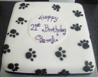 Black & White Pawprints 21St Birthday Cake - CakeCentral.com