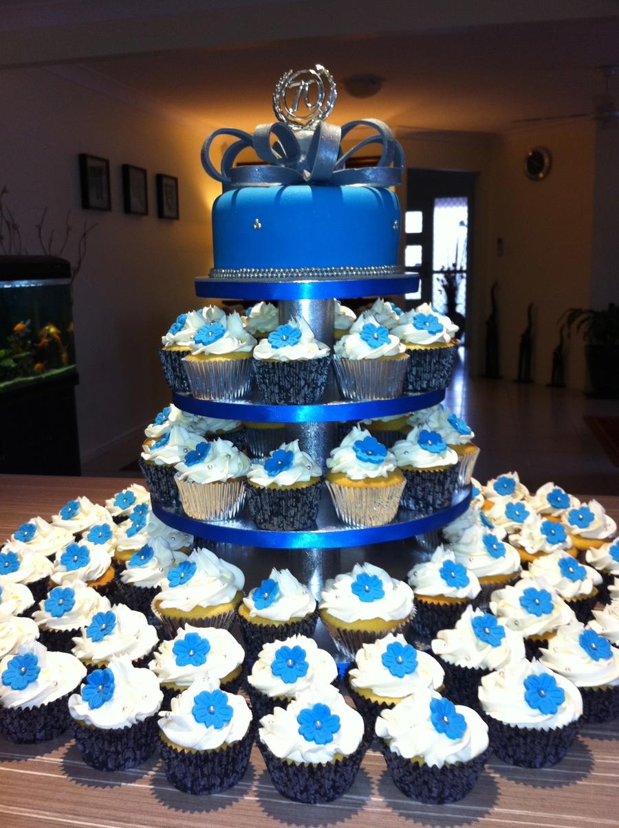 Blue Amp Silver Birthday Cake By Simplycakes
