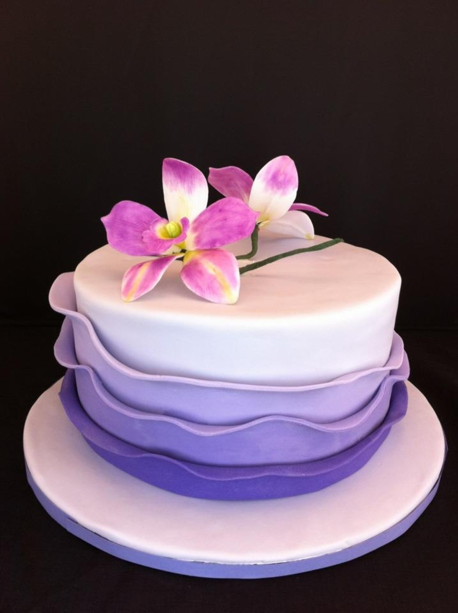 Purple Ruffle Cake With Orchid  CakeCentralcom