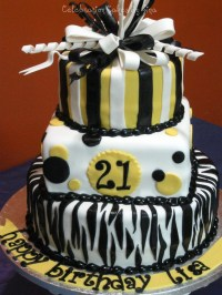 Black, White & Yellow Birthday Cake - CakeCentral.com