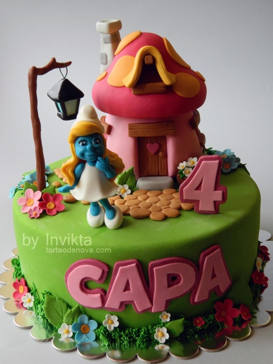 3d Smurfette Wallpapers Smurfette Cake Cakecentral Com
