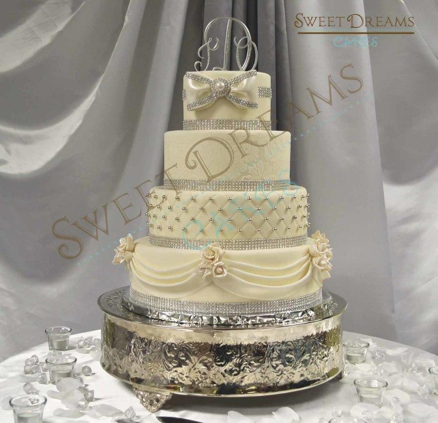 White And Silver Wedding Cake  CakeCentralcom