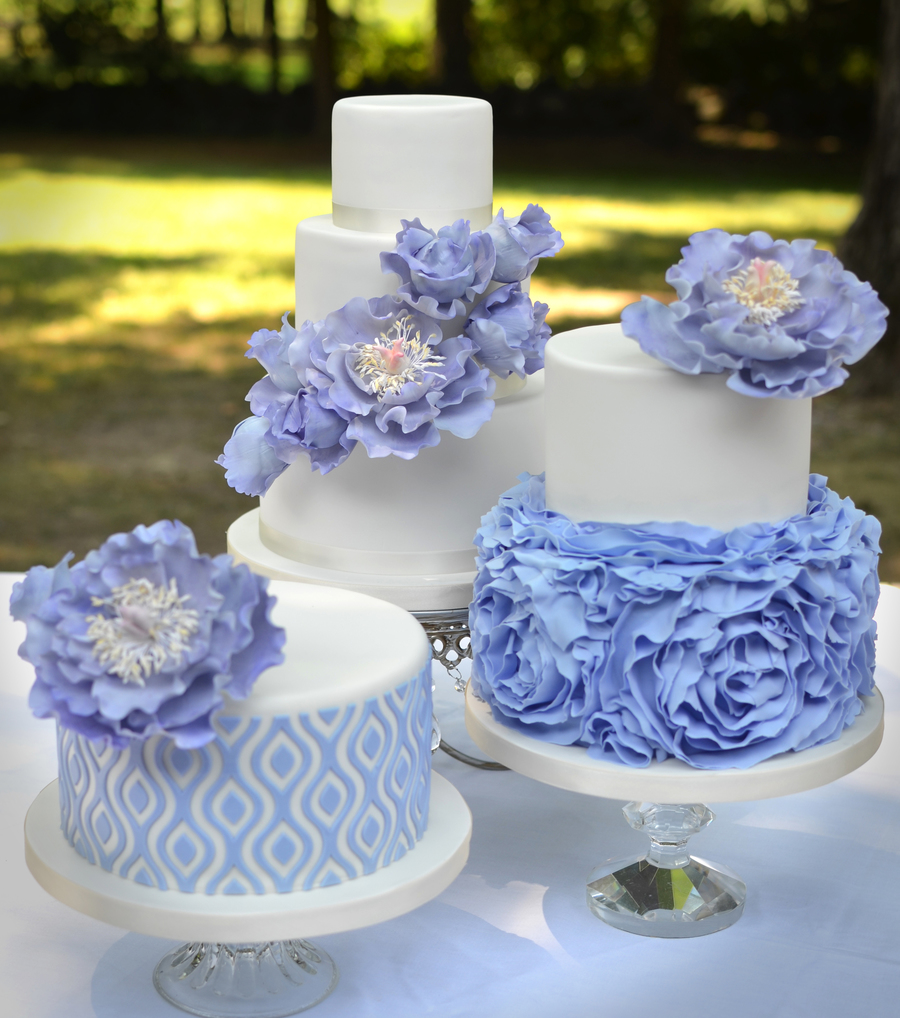 Bridal Shower Cakes With Ruffles And Sugar Peonies
