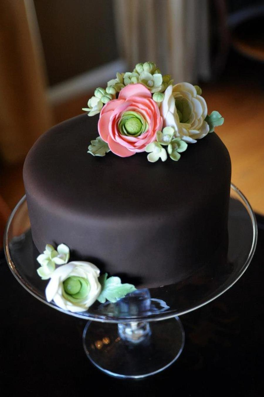 Gumpaste Flowers On Chocolate Fondant Cake Cakecentral Com