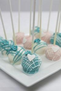 Teal And Pink Wedding Cake Pops - CakeCentral.com