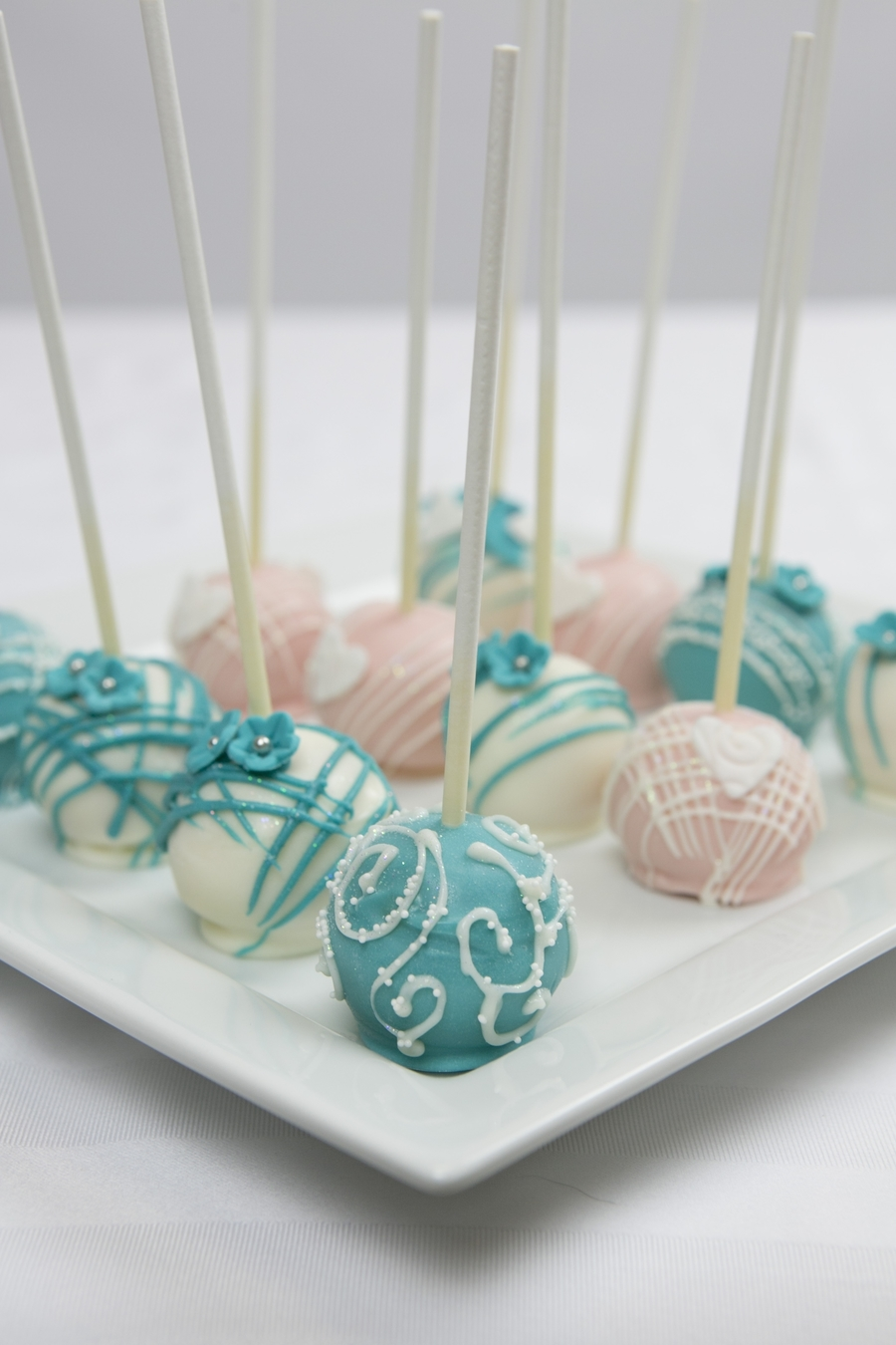 Teal And Pink Wedding Cake Pops  CakeCentralcom