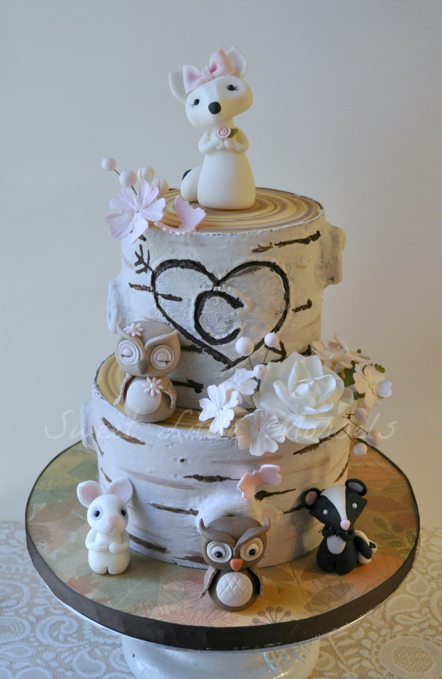 This Cake Was Done For A Friend The Woodland Animals Are Made Out Of Fondant  CakeCentralcom