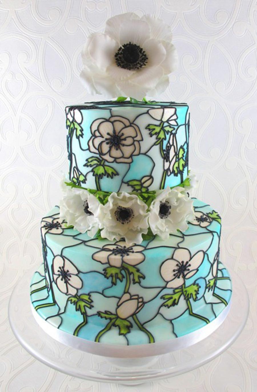 Anemone Stained Glass Wedding Cake  CakeCentralcom
