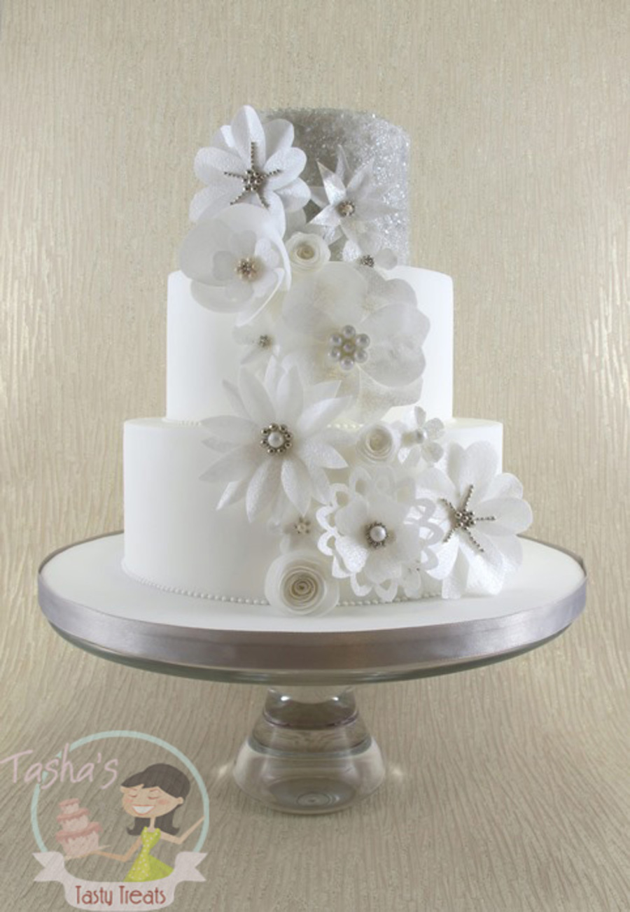 Wafer Paper Flowers Wedding Cake