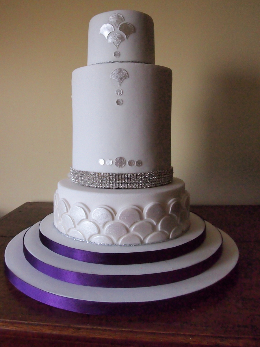 Gatsby Inspired 3 Tier Wedding Cake  CakeCentralcom