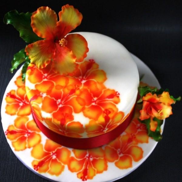 Hibiscus Sugar Flower With Airbrush