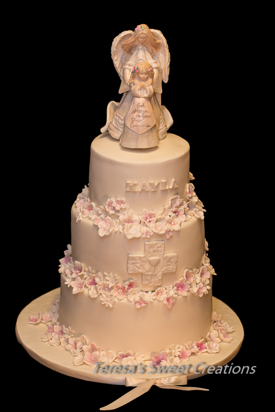 Holy First Communion Cake Girl With Angel And Flowers All