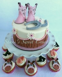 Sweet Baby Shower Cake With Baby Cowboy Boots Horseshoes ...