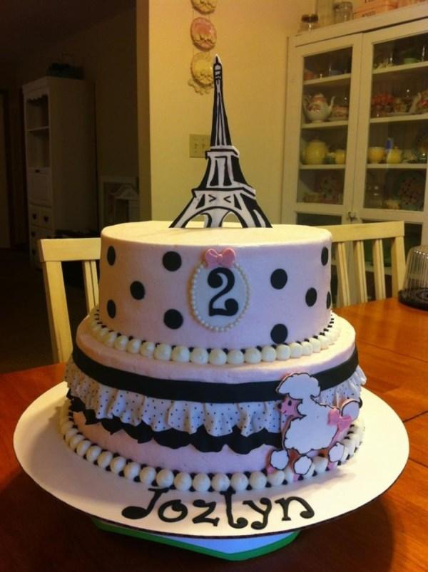 Pink Black Paris Birthday Cake