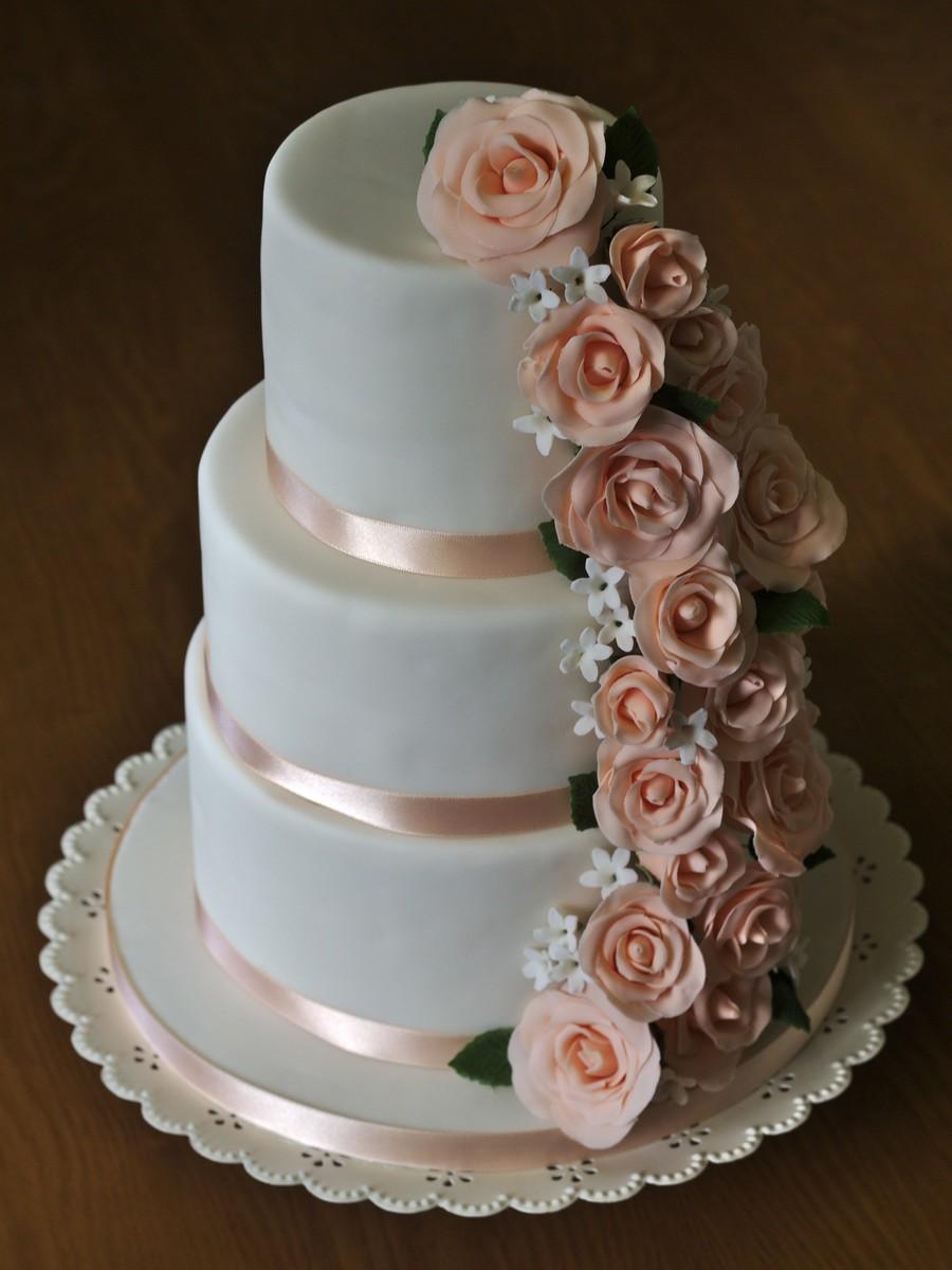 Peach Rose Cascade CakeCentral Com