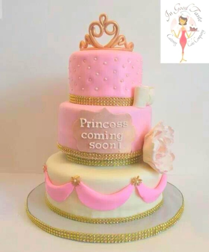 Princess Baby Shower Cake Vanilla And Strawberry Cakes With Butter Cream  Icing Covered In Fondant Modeling