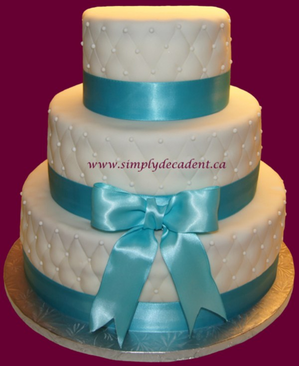 3 Tier Quilted Fondant Wedding Cake With Pearls Amp