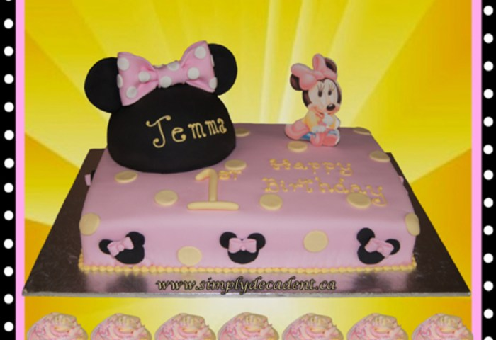 Disney Baby Minnie Mouse 1st Birthday Cake With Minnie Mouse Ears