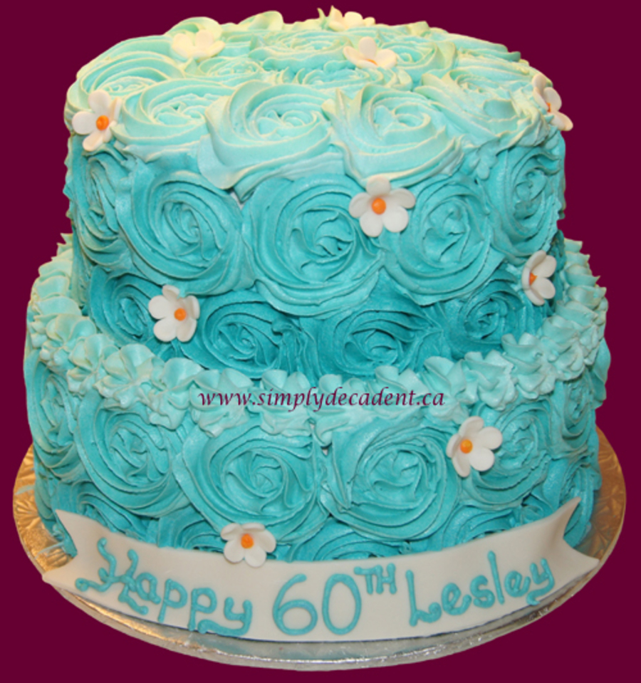 2 Tier Buttercream Birthday Cake With Turquoise Rosettes