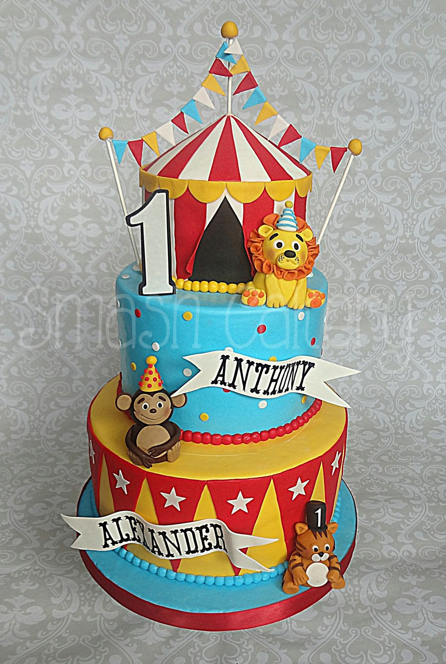 Circus First Birthday Cake  CakeCentralcom